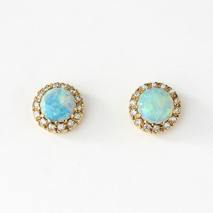 opal and diamond cluster stud earrings in 9ct yellow gold with claw settings