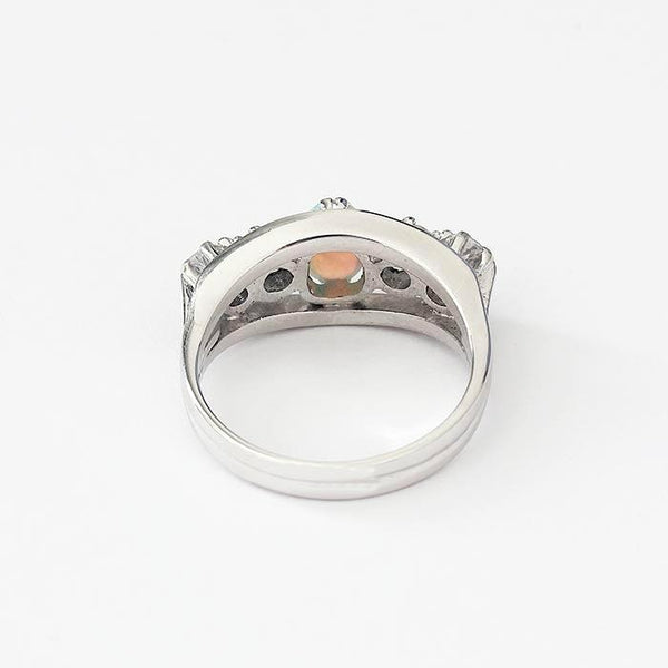 a vibrant opal and diamond 5 stone ring in white gold
