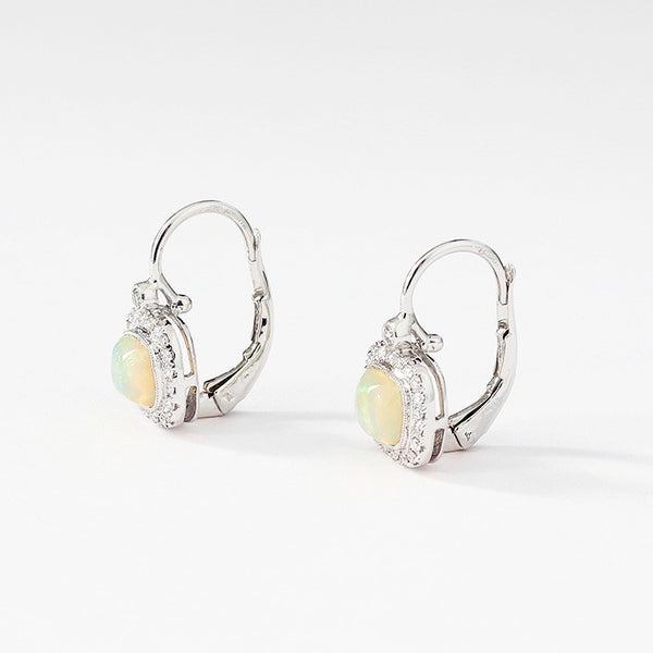 white gold opal and diamond cluster earrings with a slight drop and hook fitting