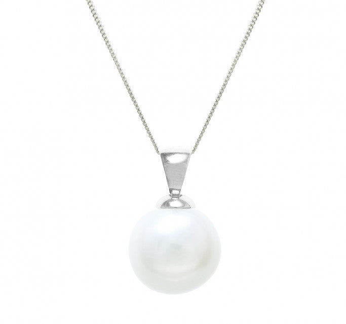 freshwater pearl 12mm with pendant and chain in white gold