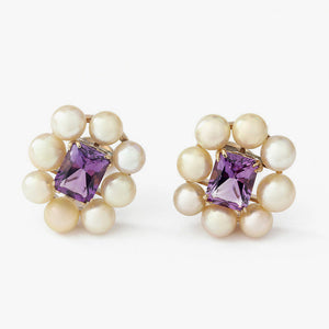 9ct gold pearl and amethyst clip on earrings secondhand