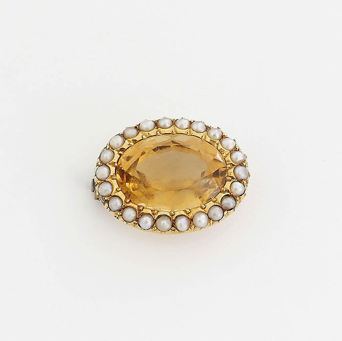 secondhand citrine and pearl gold brooch