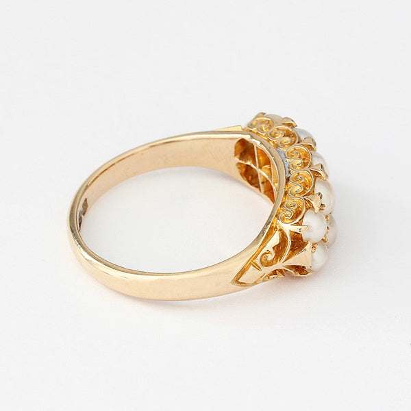 18ct yellow gold secondhand pearl cluster ring with carved shoulders