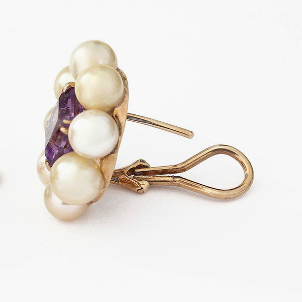pearl and amethyst large clip on earrings in yellow gold secondhand