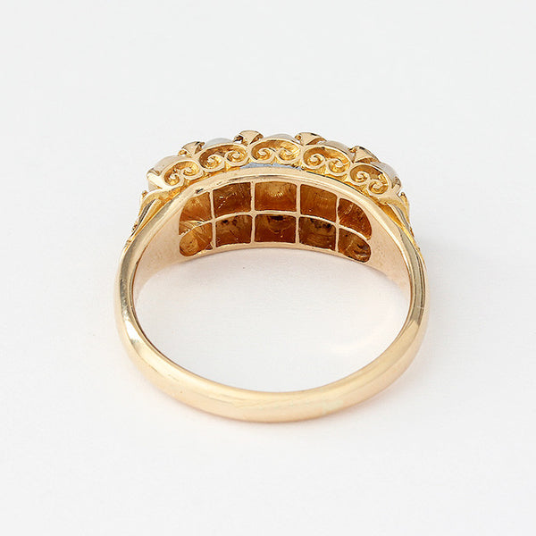 a secondhand victorian pearl ring in yellow gold with a full hallmark and carved shoulders
