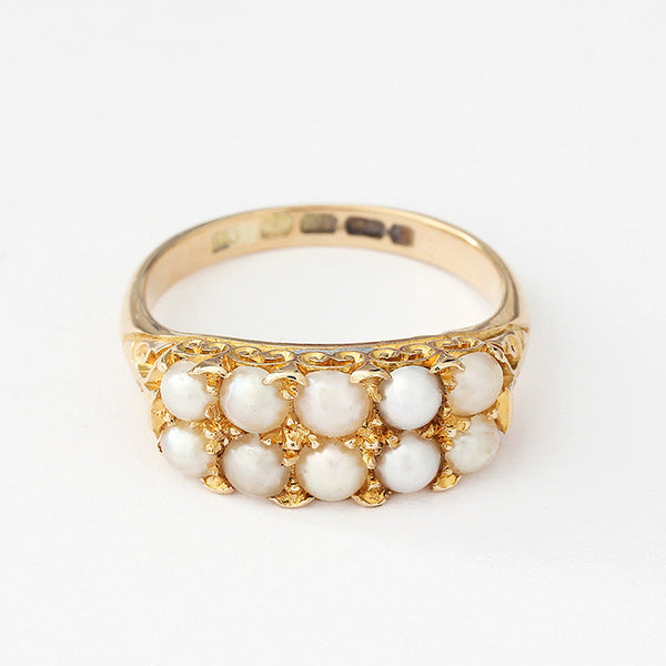 secondhand pearl cluster ring in 18ct yellow gold dated 1900 victorian
