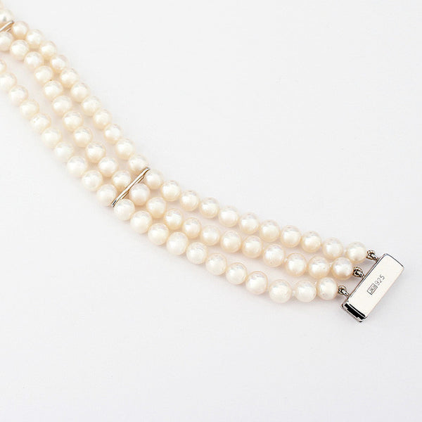 White Freshwater Pearl Three Row Modern Bracelet In Silver