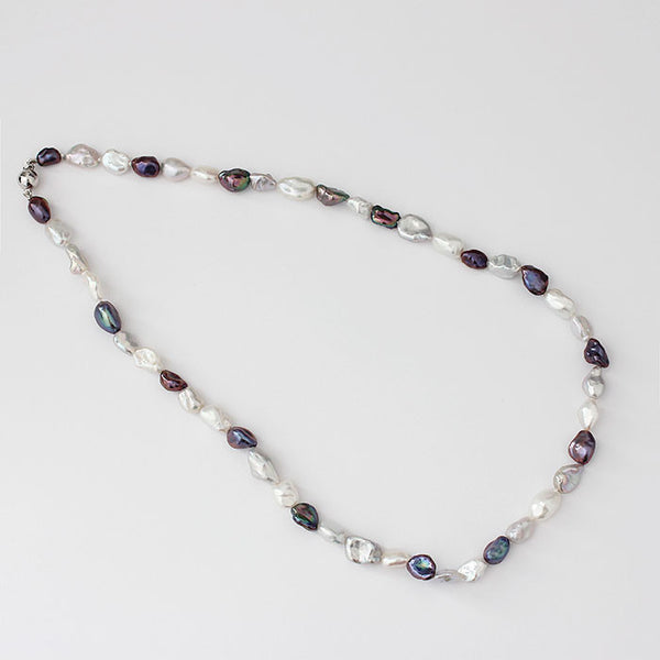 silver freshwater pearl necklace grey, black, white from marston barrett lewes