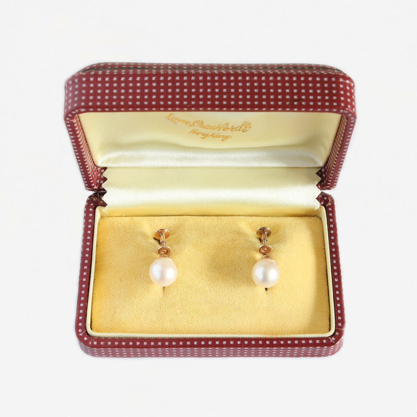 pearl set earrings with gold screw fittings in box