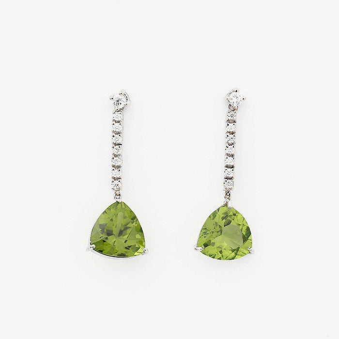 peridot and diamond long drop earrings in white gold with post and butterflies