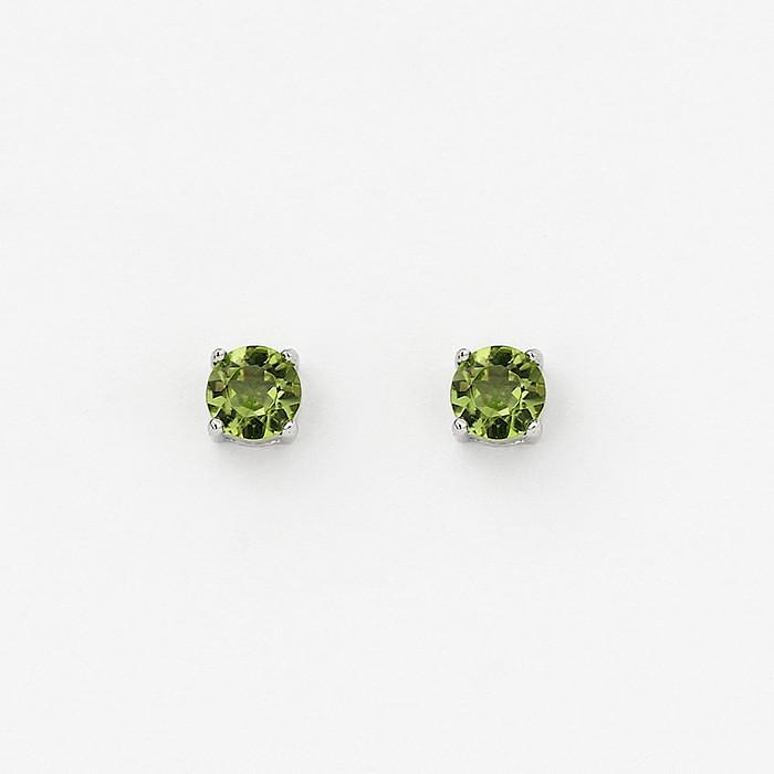 sterling silver round faceted peridot stud earrings 5mm size