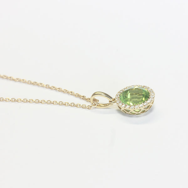 Peridot and Diamond Cluster Pendant Necklace