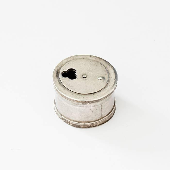 a preowned antique silver circular pill box with a roped edge dating back to the georgian period