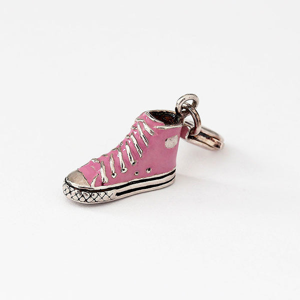 silver trainer boot charm with pink enamel