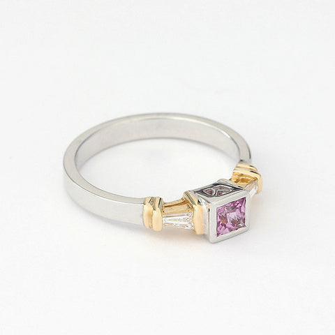 pink sapphire square stone with tapered diamond baguettes either side white gold ring