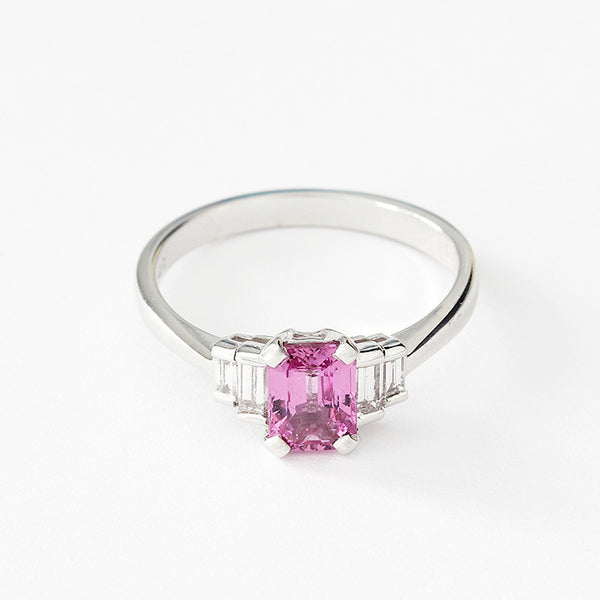 18ct white gold pink sapphire and diamond 5 stone ring