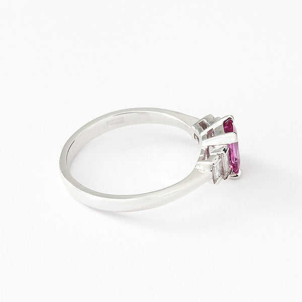 pink sapphire and diamond 5 stone ring in a white gold band