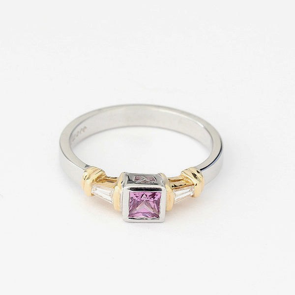 Pink Sapphire And Diamond Set Contemporary Ring In White Gold