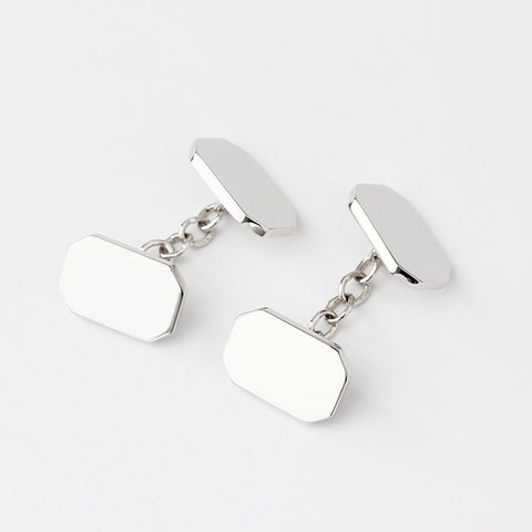silver traditional rectangular plain cufflinks