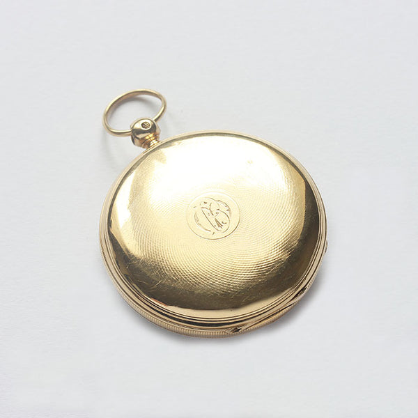 an antique open faced gold fob watch with key winding feature and hallmarked for london 1862 at marston barrett jewellers in lewes