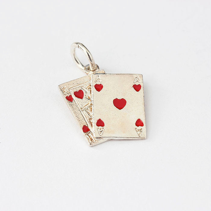 silver playing cards charm with red enamel fixed 3 cards