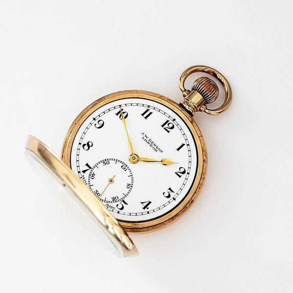 a rolled gold open faced pocket watch by j w benson with swiss movement preowned
