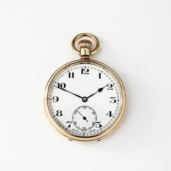 9ct gold secondhand pocket watch open faced dated 1933 with swiss movement