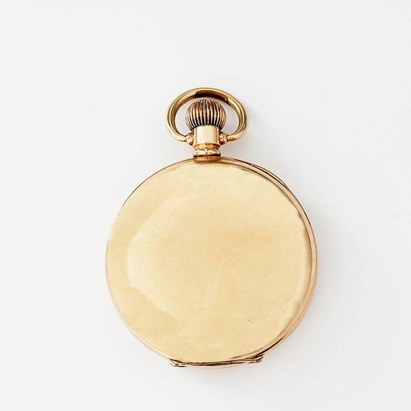 a rolled gold open faced pocket watch by j w benson with swiss movement