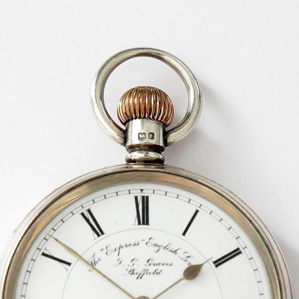 an antique express english lever pocket watch by J G Graves of sheffield in silver dated 1905