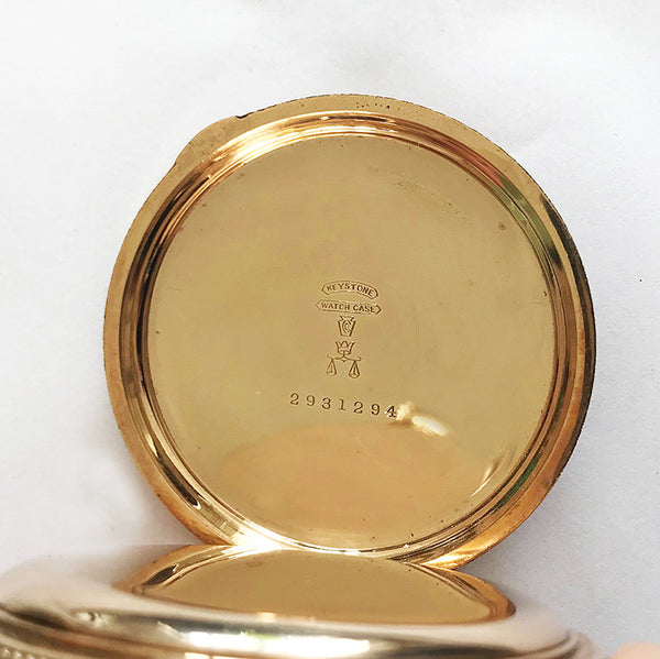 a wonderful American waltham watch company pocket watch in 14 carat gold plate with engraving