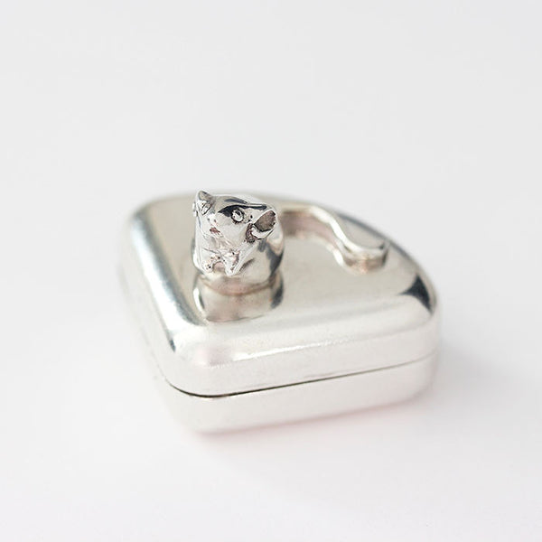 silver mouse on a wedge of cheese pot modern