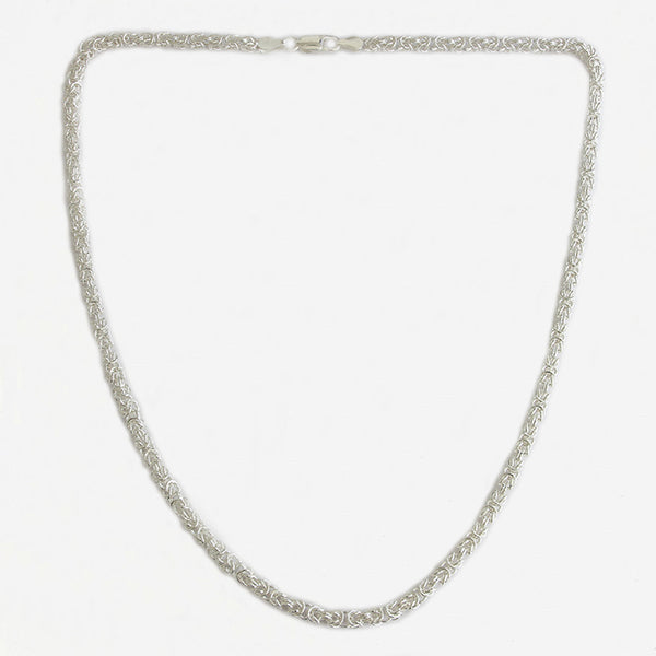 a sterling silver slim byzantine necklace