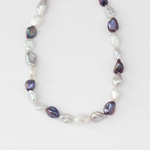 modern freshwater pearl necklace in silver