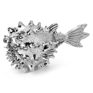 a pewter pufferfish aerator by Royal Selangor