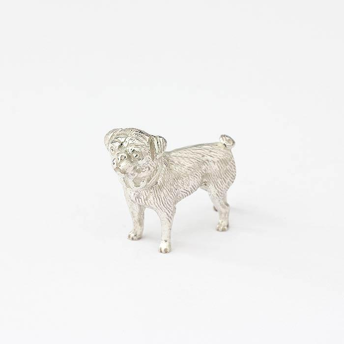 a detailed pug silver solid ornament all british made