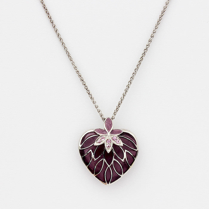 sterling silver chain with heart pendant purple colour with pink sapphires floral design