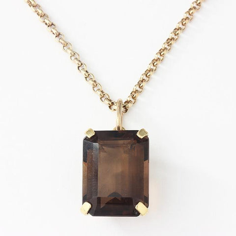 a large rectangular faceted smoky quartz pendant with 4 claw setting and a yellow gold micro belcher necklace
