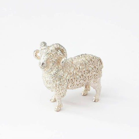 a modern solid silver ram ornament with full british hallmark at marston barrett in lewes