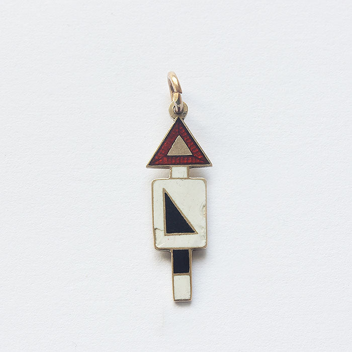 a road sign gradient enamel gold charm secondhand