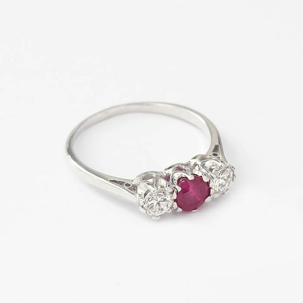 ruby and diamond set 3 stone ring with a claw setting and white gold band