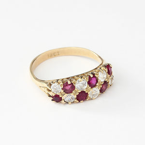 ruby and diamond secondhand yellow gold checkerboard design ring