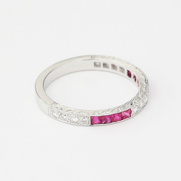 square ruby and round diamond eternity ring in channel set grain set and in white gold