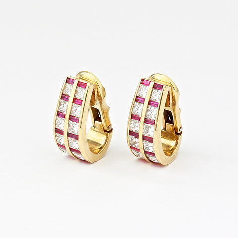 ruby and diamond clip on earrings in yellow gold by Jean Vitau