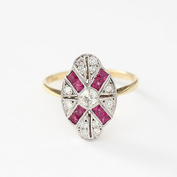 a secondhand ruby and diamond ring with an art deco design