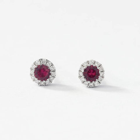 round ruby and diamond small cluster earrings in white gold with a post and butterfly fitting