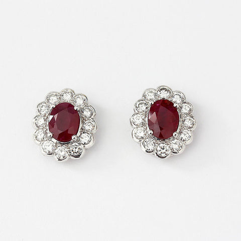 ruby and diamond oval cluster earrings in white gold