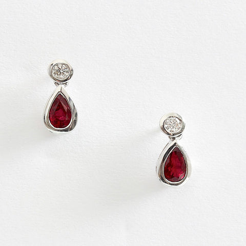 ruby and diamond drop earrings tear drop in white gold