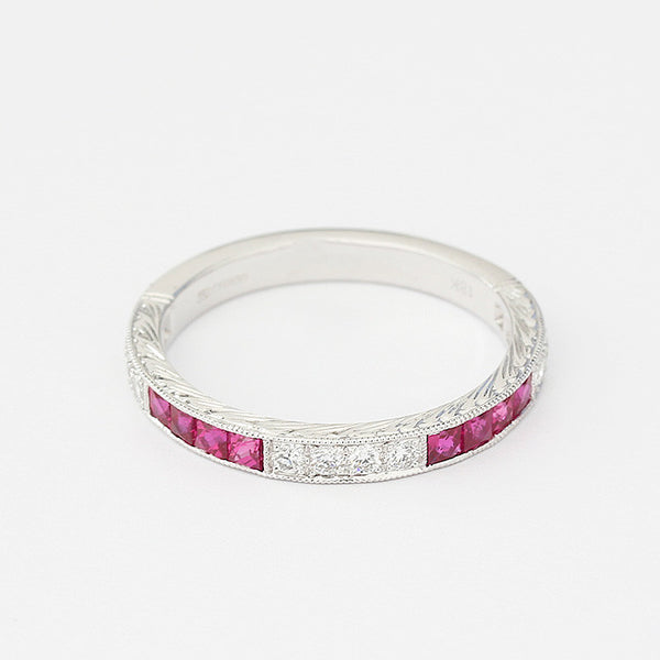 white gold ruby and diamond eternity ring grain setting