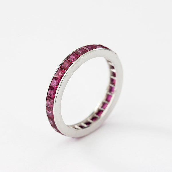 a channel set square ruby full eternity ring in platinum secondhand size N and a half