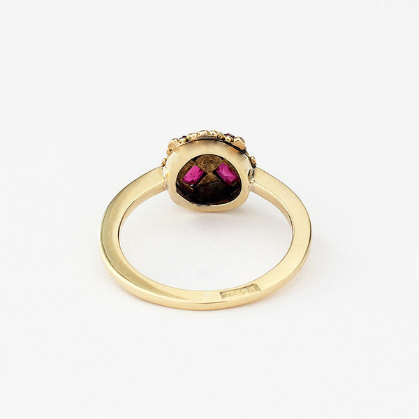 yellow gold ruby and diamond cluster ring